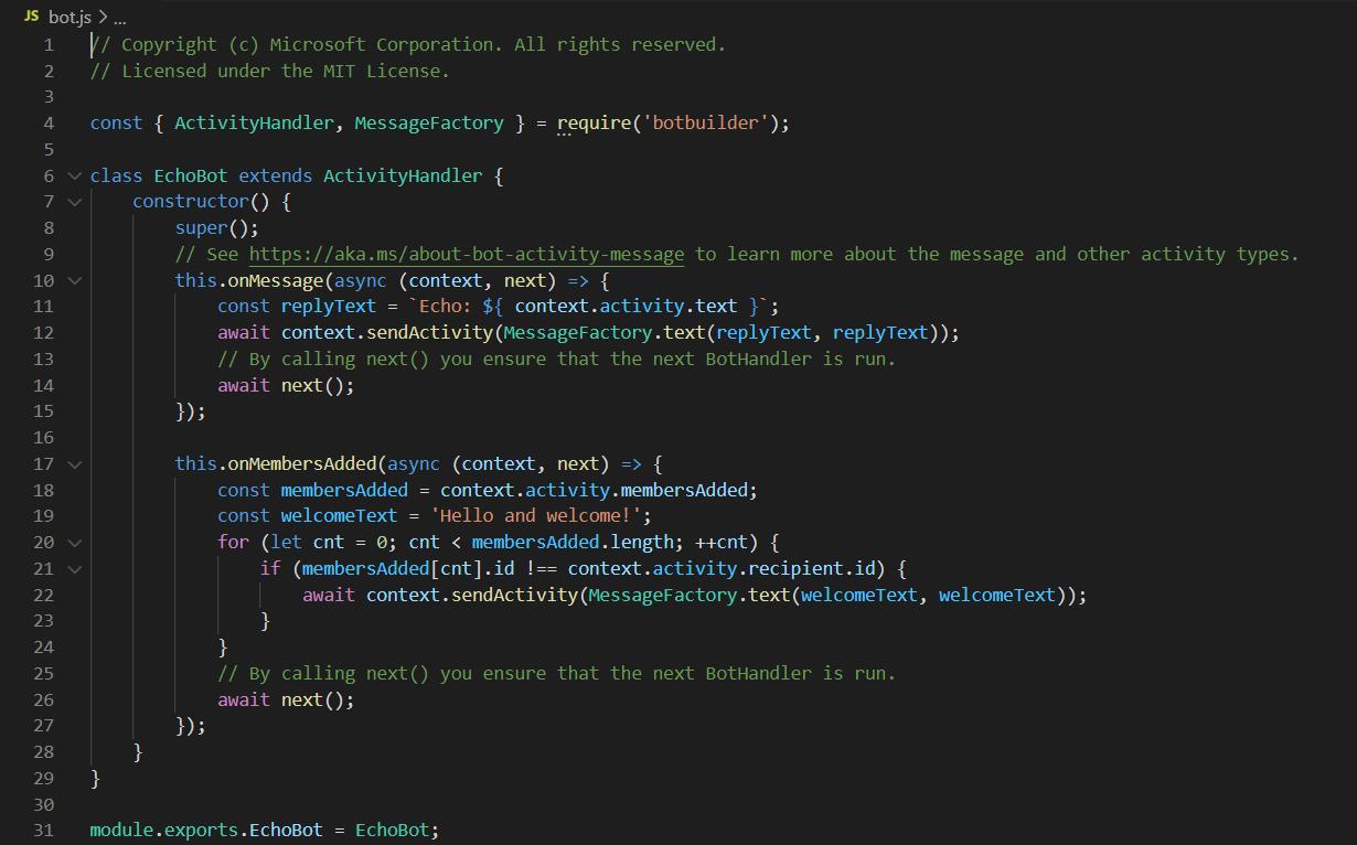 bot framework sdk bot logic